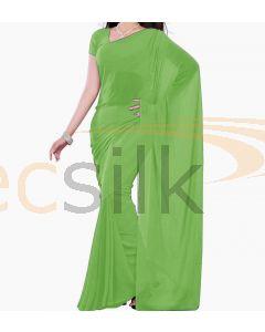 Chiffon Saree Plane Leaf green