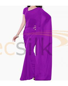 Chiffon Saree Plane Purple Bright