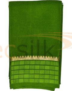 Crepe Silk Saree Leaf Green Box