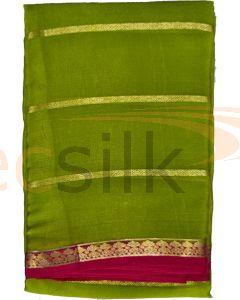Crepe Silk Saree Mehandi Green. Jari Body