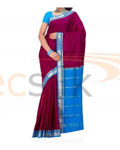 Crepe Silk Saree Blue & DeepRani