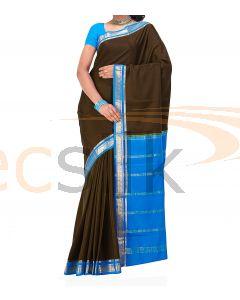Crepe Silk Saree Blue & Mehandi