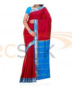 Crepe Silk Saree Blue & Red