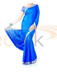 Silk Crepe Saree Bright Blue