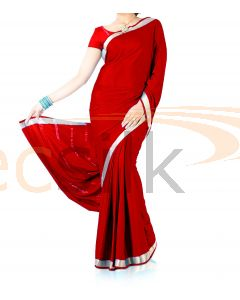 Silk Crepe Saree Bright Red