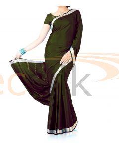 Silk Crepe Saree Dark Mehandi