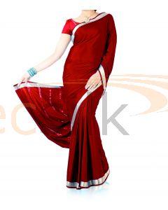 Silk Crepe Saree Deep Red