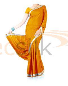 Silk Crepe Saree Deep Yellow