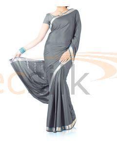 Silk Crepe Saree Gray