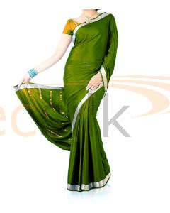 Silk Crepe Saree Leaf Green