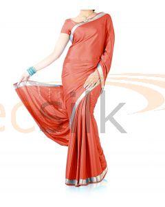 Silk Crepe Saree Light Red
