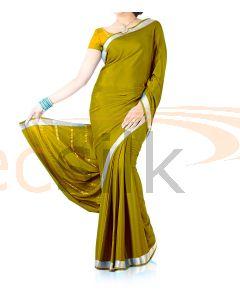 Silk Crepe Saree Mehandi