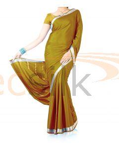 Silk Crepe Saree Mustared