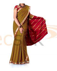Crepe Silk Saree Mehandi