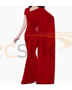 Chiffon Saree Plane Dark Red
