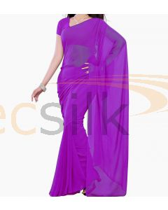 Chiffon Saree Plane Purple