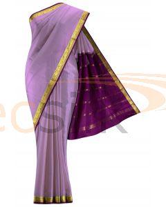 Crepe Saree Light Purple  Border Magenta