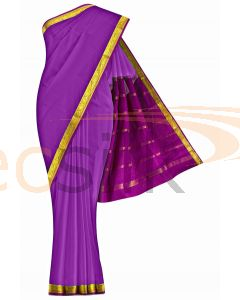 Crepe Saree Purple  Border Magenta