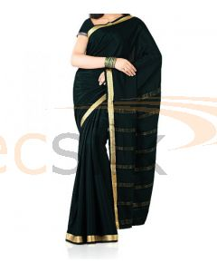 Silk Saree Crepe Black