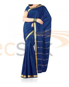 Silk Saree Crepe Blue