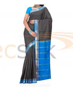 Crepe Silk Saree Blue & Gray