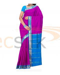Crepe Silk Saree Blue & Pink