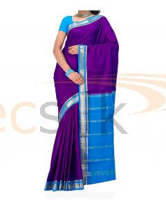 Crepe Silk Saree Blue & purple
