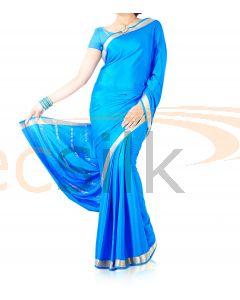 Silk Crepe Saree Blue