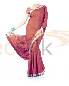 Silk Crepe Saree Copper Red