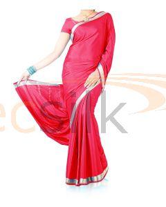 Silk Crepe Saree Dark Pink