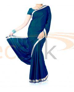 Silk Crepe Saree Deep Blue