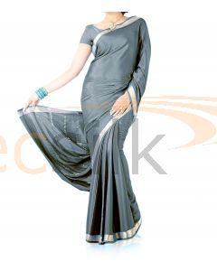 Silk Crepe Saree Gray Dark