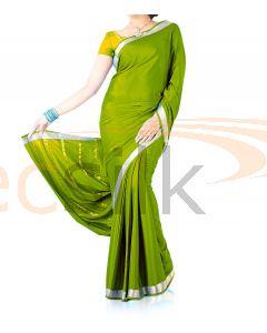 Silk Crepe Saree Green