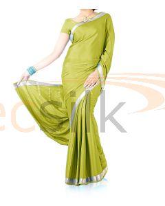 Silk Crepe Saree Light Mehandi