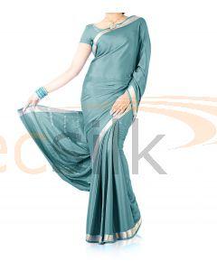 Silk Crepe Saree Light Pista