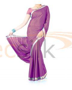 Silk Crepe Saree Light Purple