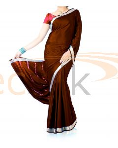 Silk Crepe Saree Maroon