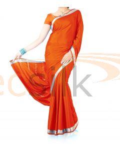 Silk Crepe Saree Orange