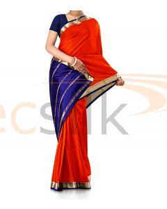 Pure Crepe Silk Saree Bright Red