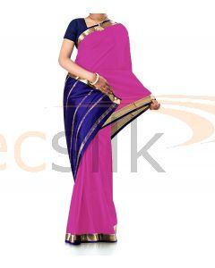 Pure Crepe Silk Saree Dark Pink