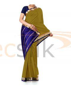 Pure Crepe Silk Saree Mehandi
