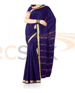 Silk Saree Crepe Deep Blue
