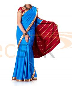 Pure Crepe Silk Saree Blue