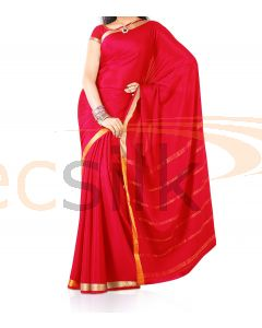 Silk Saree Crepe Red